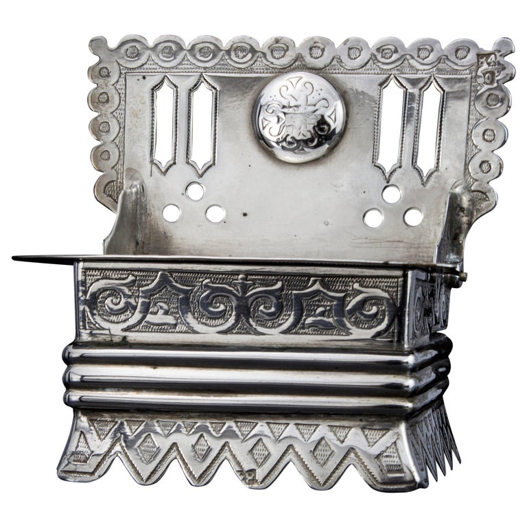 Antique Russian Silver Salt Cellar in a Shape of a Bench For Sale