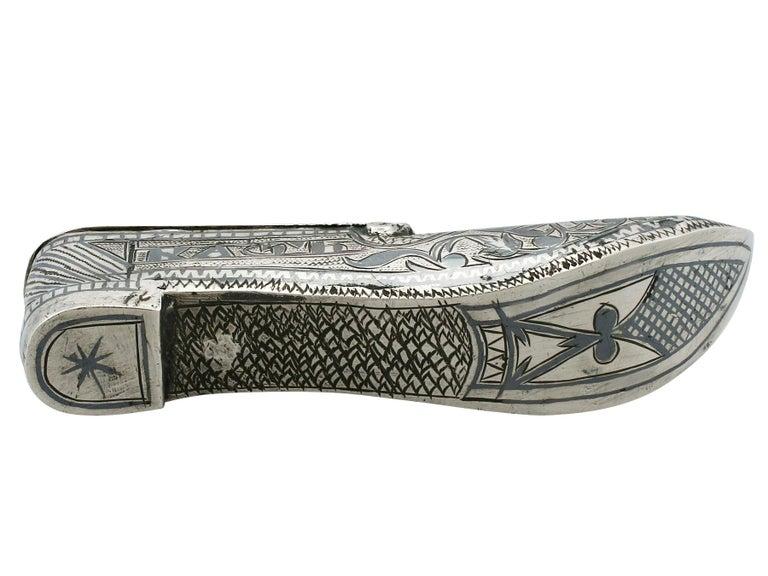 1855 Antique Russian Silver 'Shoe' Vesta Case For Sale 1