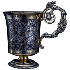 Antique Russian Tankard with Peter the Great on a Horse Scenery