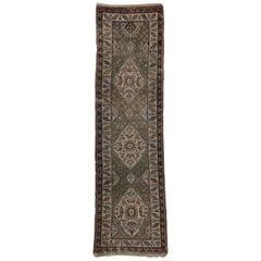 Distressed Antique Russian Tribal Kazak Rug, Caucasian Hallway Runner