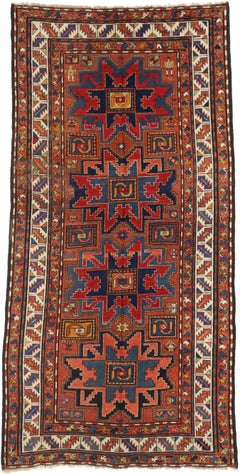 Antique Caucasian Kazak Area Rug with Lesghi Star, Wide Hallway Tribal Runner