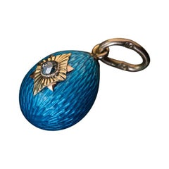 Antique Russian Turquoise Guilloche Enamel Gold Egg Pendant