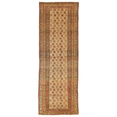 Antique Russian Varamin Style Runner Rug with Black and Brown Mina Khani Details