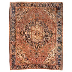 Antique Rust Blue Brown Geometric Persian Karaja Area Rug