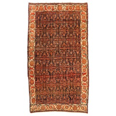 Antique Rust Ivory and Navy Blue Bakhtiari Persian Rug