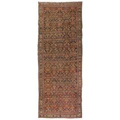 Antique Rust Ivory Navy Blue Geometric Malayer Persian Rug, circa 1880-1900s