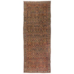 Antique Rust Ivory Navy Blue Persian Geometric Malayer Rug, circa 1880s-1900s