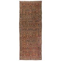 Antique Rust Ivory Navy Blue Persian Geometric Malayer Rug circa 1880-1900s