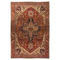 Antique Rust Serapi Handmade Persian Wool Rug
