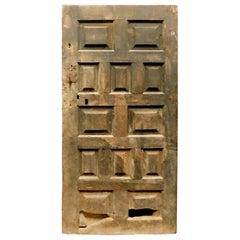 Antique Rustic Black Wood Door with Panels, Spain, 1600