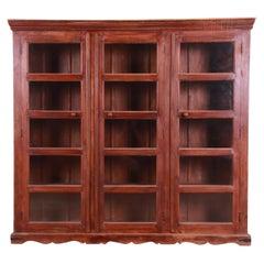 Antique Rustic Carved Walnut Triple Bookcase, Circa 1900
