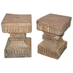 Antique Rustic Carved Wood Side Tables, Sold Singly
