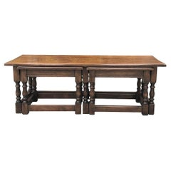 Antique Rustic Country French Nesting Coffee Table Set