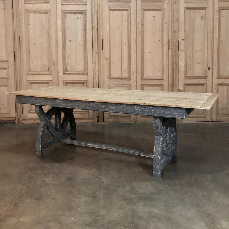 Antique Rustic Country French Pine Wagon Wheel Trestle Table For Sale 6