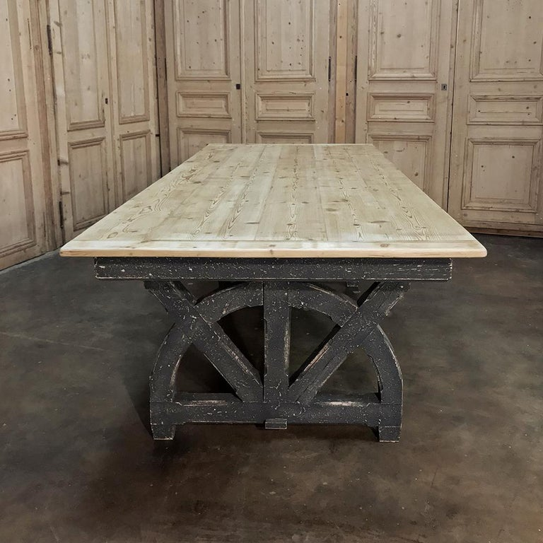 Hand-Crafted Antique Rustic Country French Pine Wagon Wheel Trestle Table For Sale