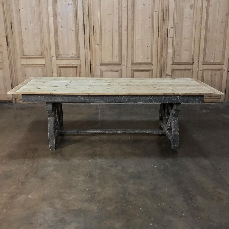Antique Rustic Country French Pine Wagon Wheel Trestle Table In Good Condition For Sale In Dallas, TX