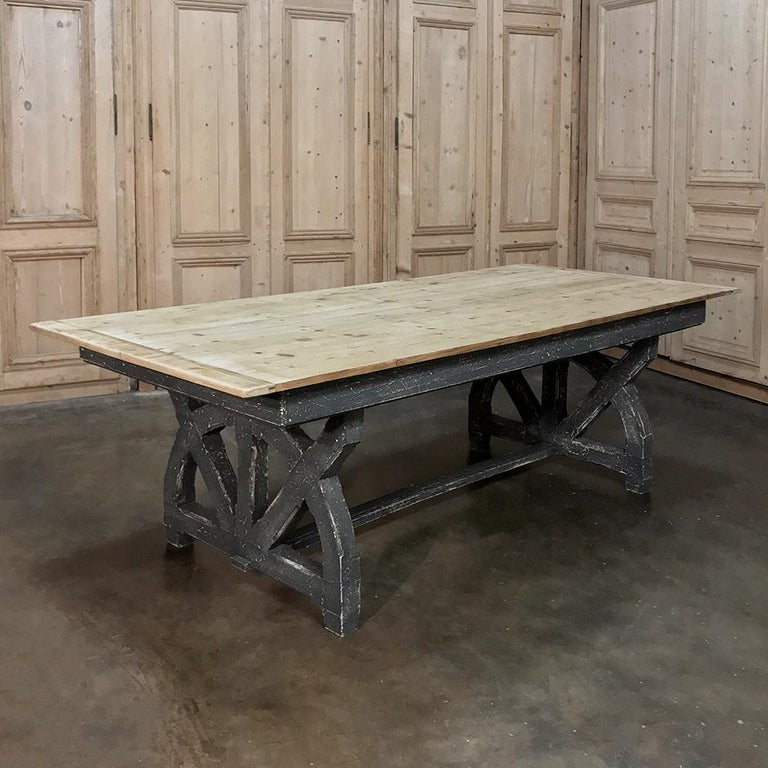 20th Century Antique Rustic Country French Pine Wagon Wheel Trestle Table For Sale