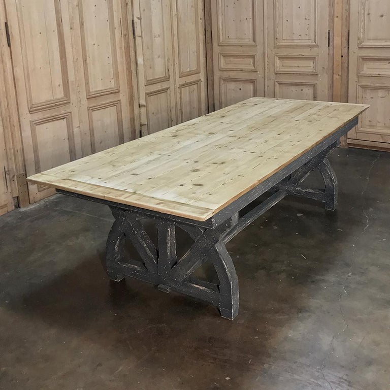 Antique Rustic Country French Pine Wagon Wheel Trestle Table For Sale 1