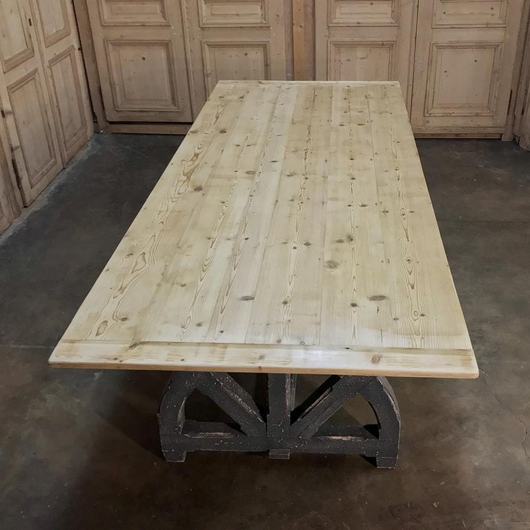 Antique Rustic Country French Pine Wagon Wheel Trestle Table For Sale 2