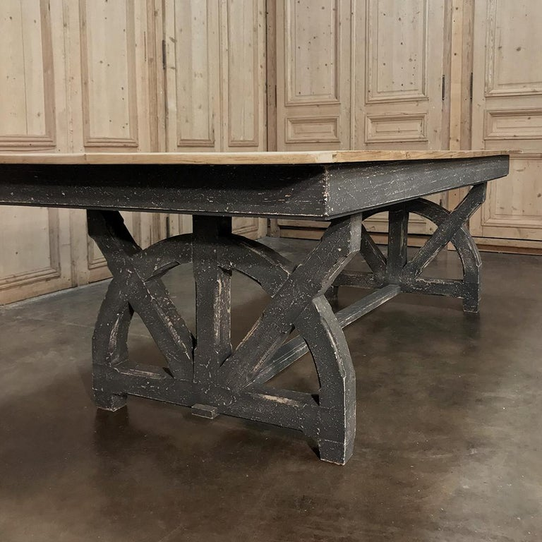 Antique Rustic Country French Pine Wagon Wheel Trestle Table For Sale 3