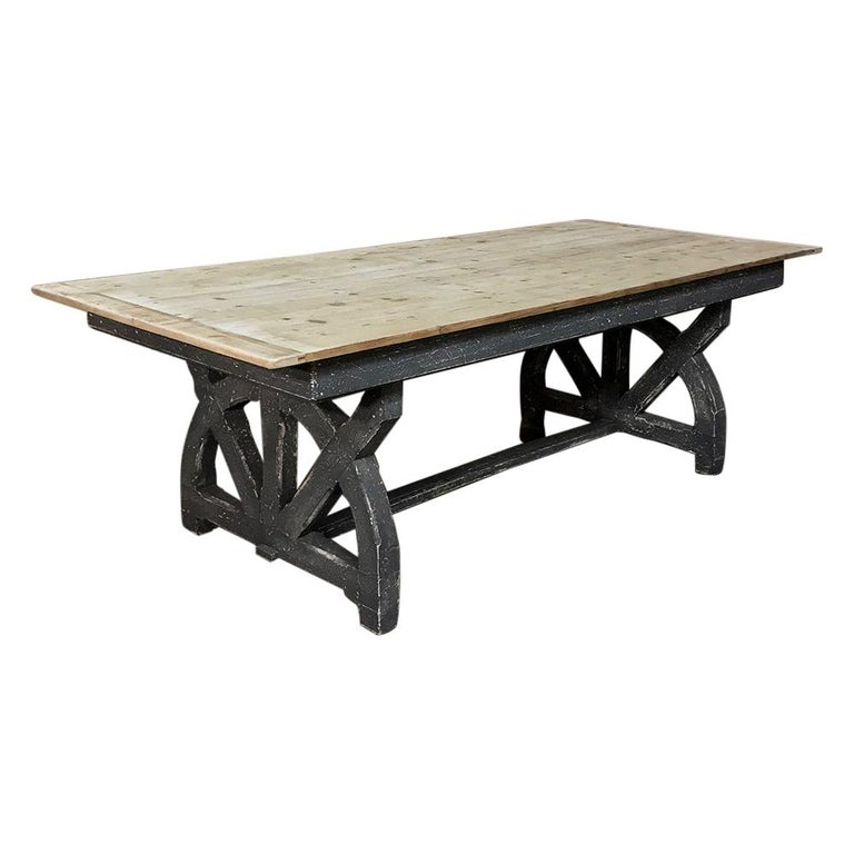 Antique Rustic Country French Pine Wagon Wheel Trestle Table For Sale