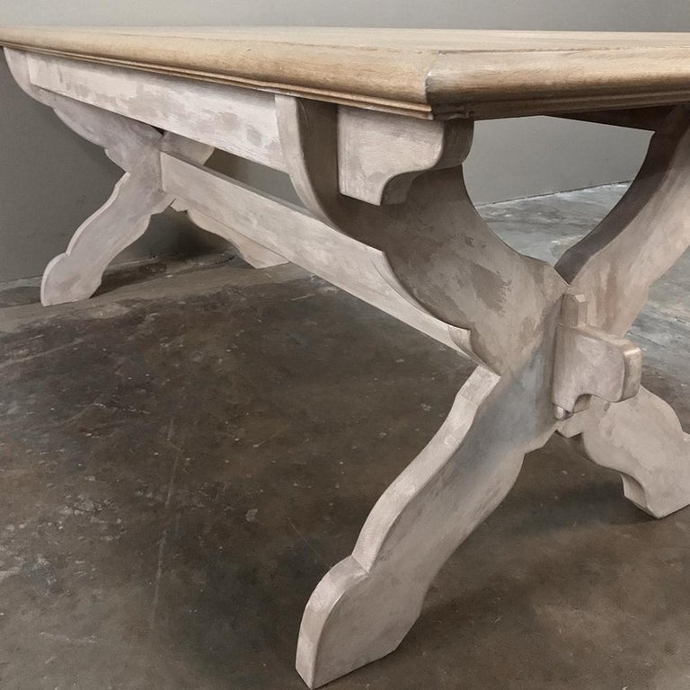 Antique Rustic Country French Whitewashed Trestle Table For Sale 5