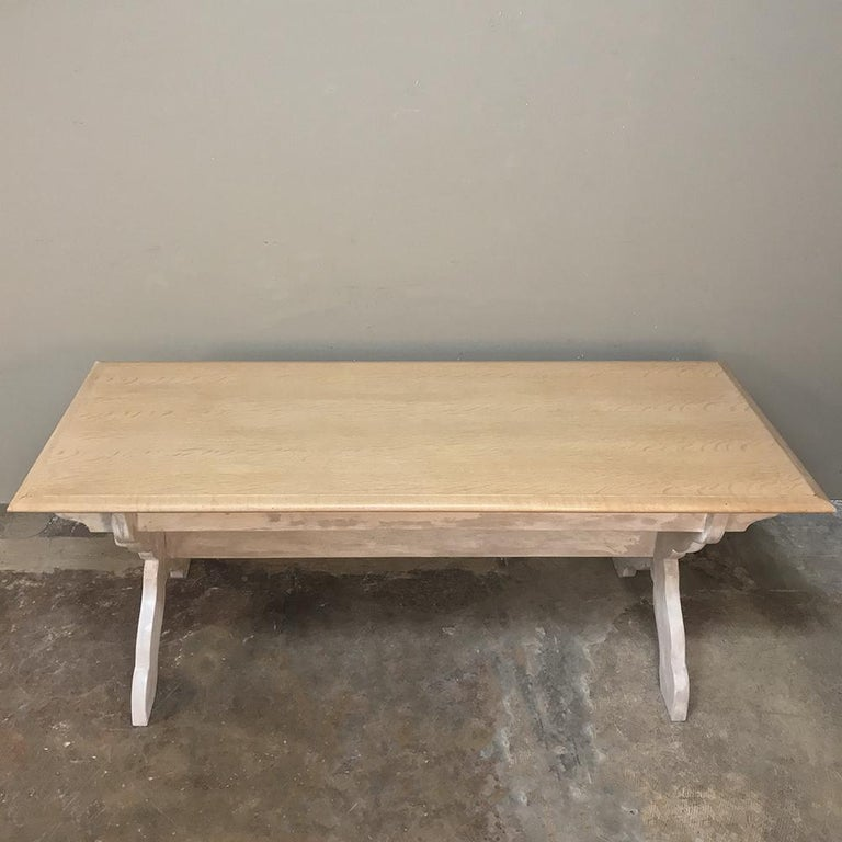 Hand-Crafted Antique Rustic Country French Whitewashed Trestle Table For Sale