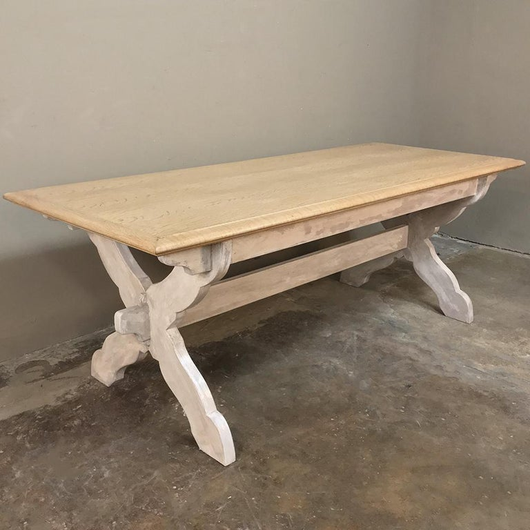 Antique Rustic Country French Whitewashed Trestle Table In Good Condition For Sale In Dallas, TX