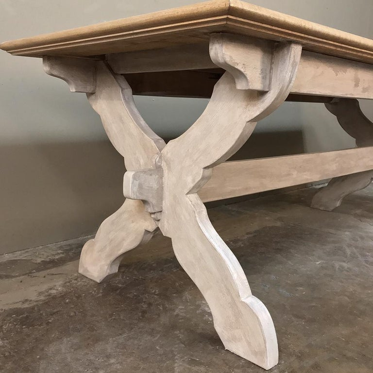 20th Century Antique Rustic Country French Whitewashed Trestle Table For Sale