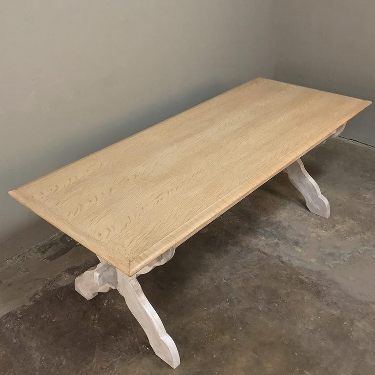 Antique Rustic Country French Whitewashed Trestle Table For Sale 2