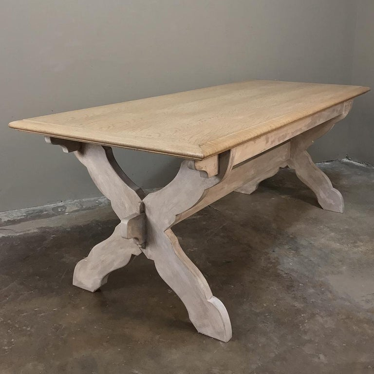 Antique Rustic Country French Whitewashed Trestle Table For Sale 3