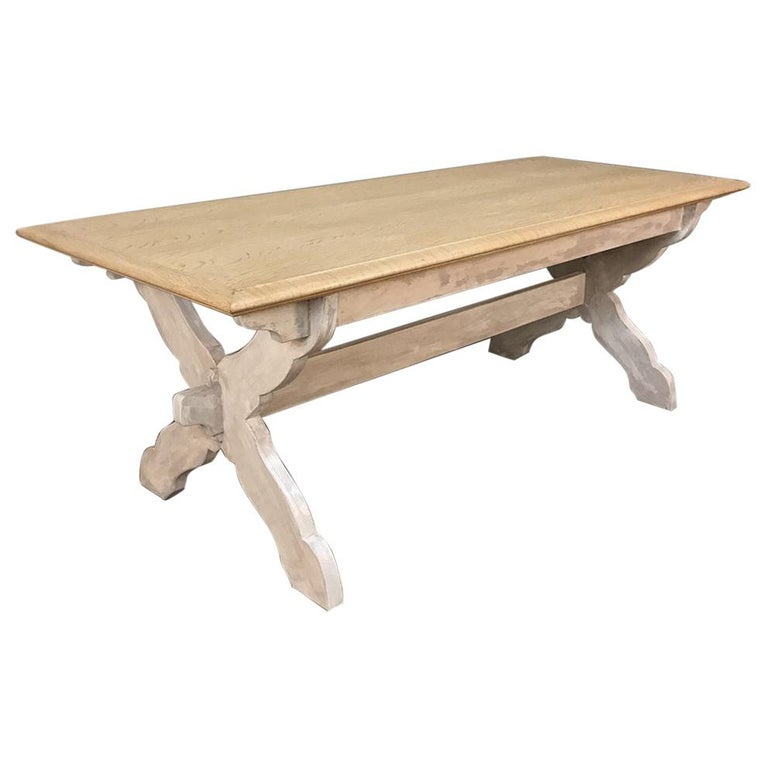 Antique Rustic Country French Whitewashed Trestle Table For Sale