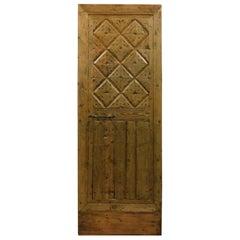 Antique Rustic Door in Blond Larch, Italian Mountain, 1800
