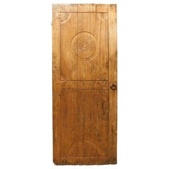 Antique Rustic Door in Poplar with Carved Flower Decorations, 19th Century Italy