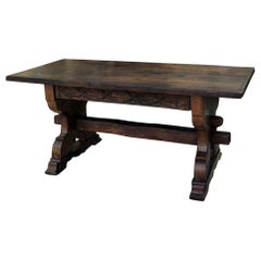 Antique Rustic Dutch Gothic Library Table