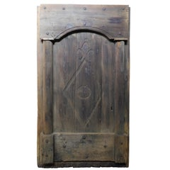 Antique Rustic Entrance Door, Dark Brown Chestnut, Hand Carved, 1800, Italy