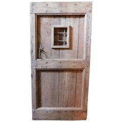Antique Rustic Entrance Door in Brown Chestnut, Small Window with Door