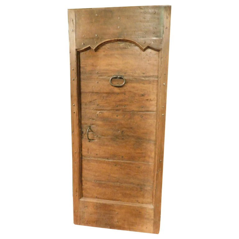Antique Rustic Entrance Door With Naililling Brown Walnut 1700 Italy For
