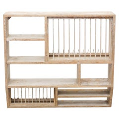 Antique Rustic French Dish Rack Cabinet, circa 1930