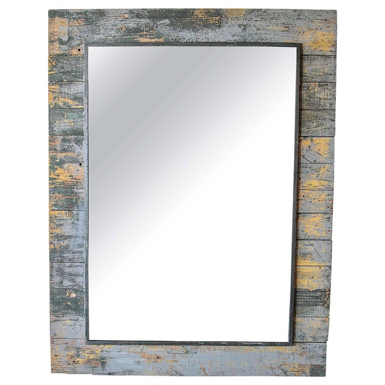 Antique Rustic French Large Mirror Frame For Sale