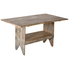 Antique Rustic French Table or Bench, Removable Pegs