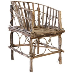 Antique Rustic French Twig Chair