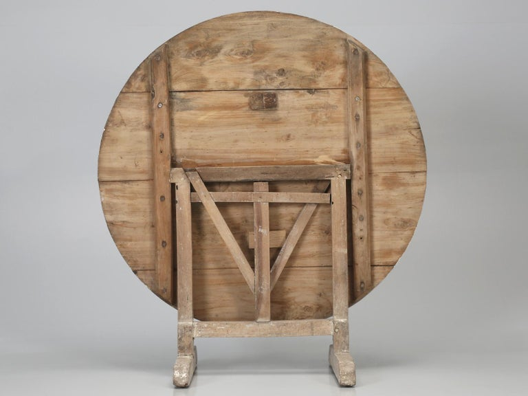 Antique Rustic French Wine Tasting Tilt-Top Table For Sale 12