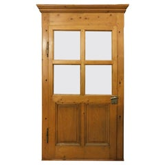 Antique Rustic Glass Door, in Light Larch Wood with Frame, 19th Century, Italy