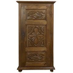 Antique Rustic Italian Piemontese Corner Cabinet
