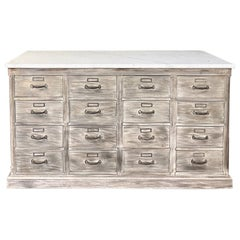 Antique Rustic Marble-Top Store Counter