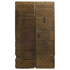 Antique Rustic Oak Door with Nails from the 18th Century, Italy