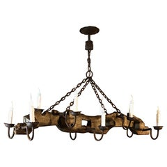 Antique Rustic Ox Yoke with Wrought Iron Chandelier