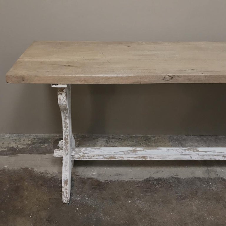 Antique Rustic Painted Country French Trestle Table, Sofa Table For Sale 4