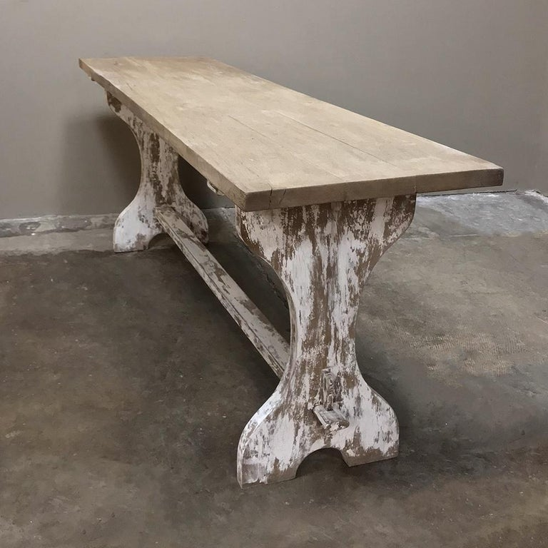 Antique Rustic Painted Country French Trestle Table, Sofa Table For Sale 5